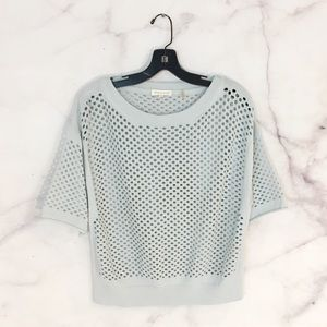 Rebecca Taylor Caged Hole Short Sleeve Sweater